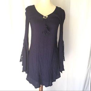love fire navy blue boho dress sz S knee length